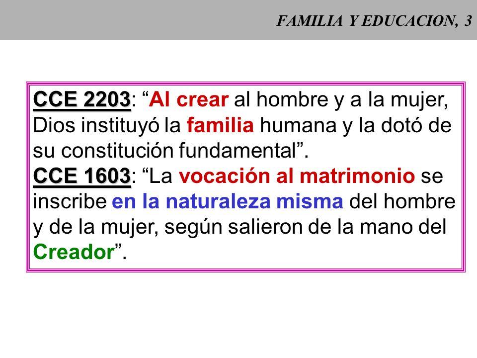 CCE 2203: Al crear al hombre y a la mujer,