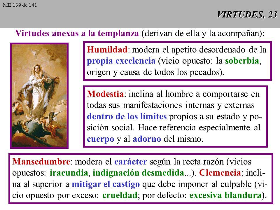 Virtudes anexas a la templanza (derivan de ella y la acompañan):