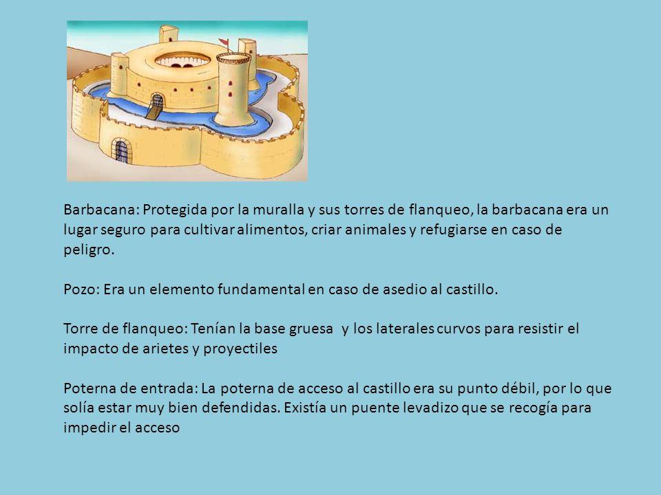 Barbacana: Protegida por la muralla y sus torres de flanqueo, la barbacana era un lugar seguro para cultivar alimentos, criar animales y refugiarse en caso de peligro.