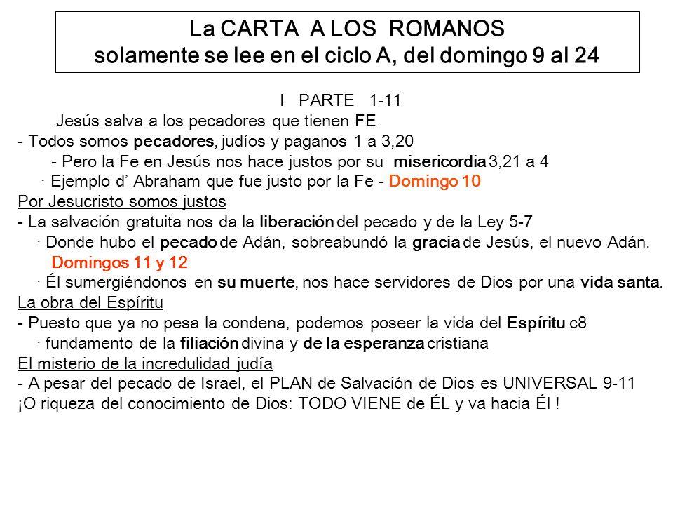 La CARTA A LOS ROMANOS solamente se lee en el ciclo A, del domingo 9 al 24
