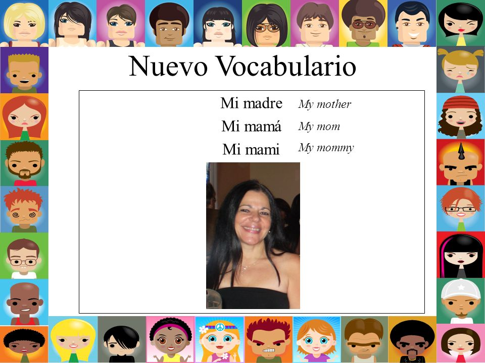 Nuevo Vocabulario Mi madre Mi mamá Mi mami My mother My mom My mommy