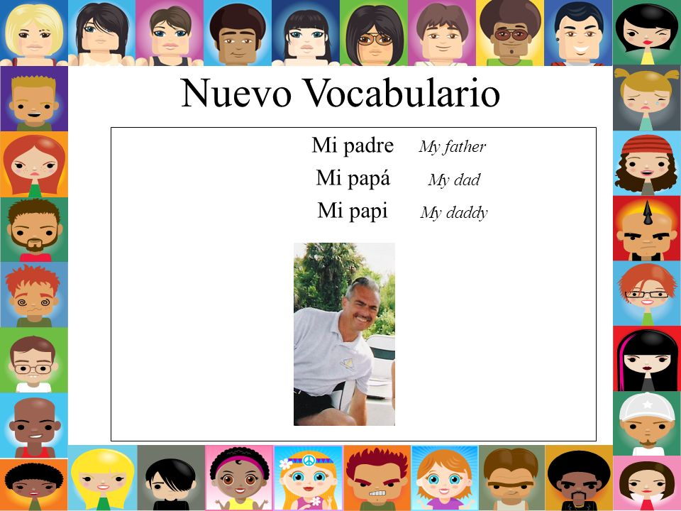 Nuevo Vocabulario Mi padre Mi papá Mi papi My father My dad My daddy