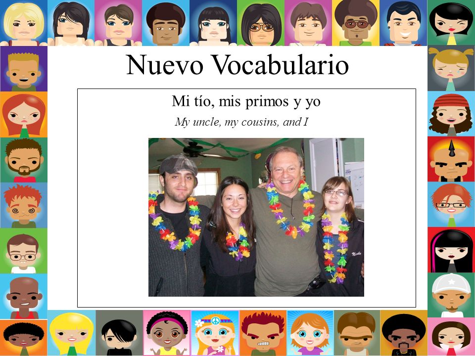 Nuevo Vocabulario Mi tío, mis primos y yo My uncle, my cousins, and I