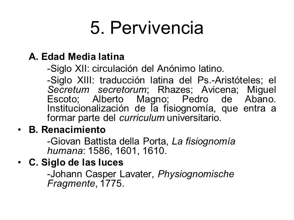 5. Pervivencia A. Edad Media latina