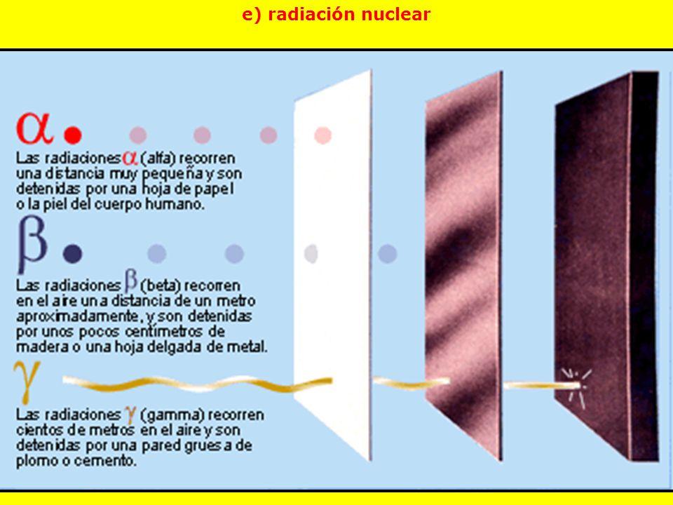 e) radiación nuclear