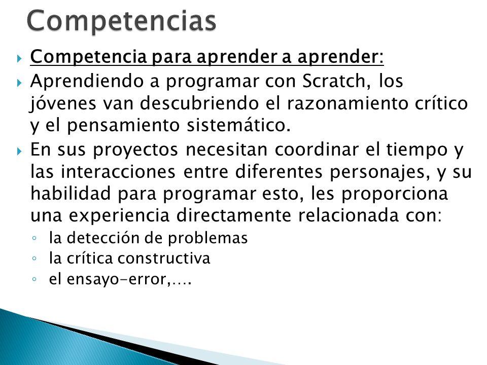 Competencias Competencia para aprender a aprender: