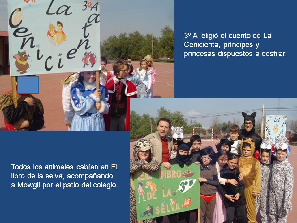 3º A eligió el cuento de La Cenicienta, príncipes y princesas dispuestos a desfilar.