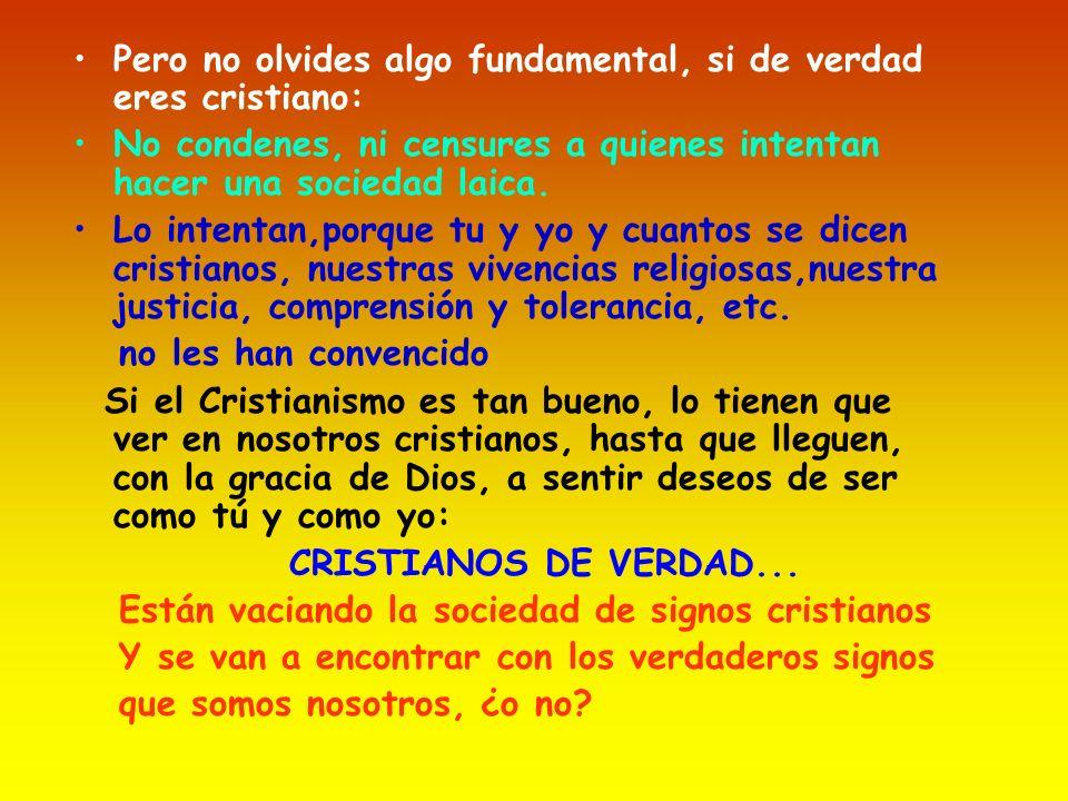 Pero no olvides algo fundamental, si de verdad eres cristiano: