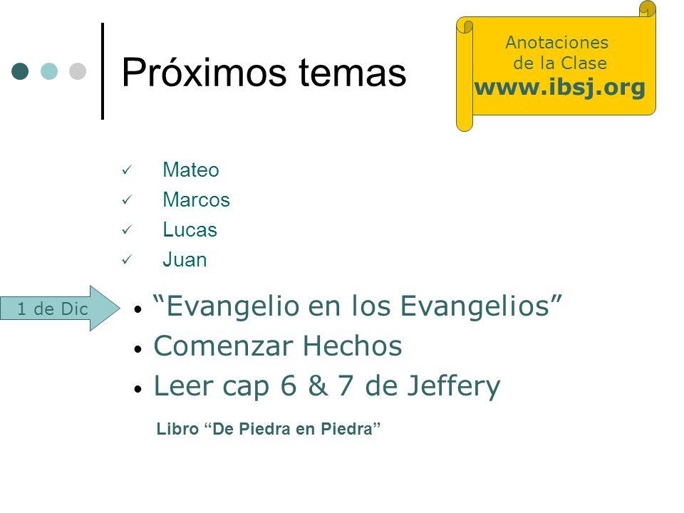 Próximos temas Evangelio en los Evangelios Comenzar Hechos