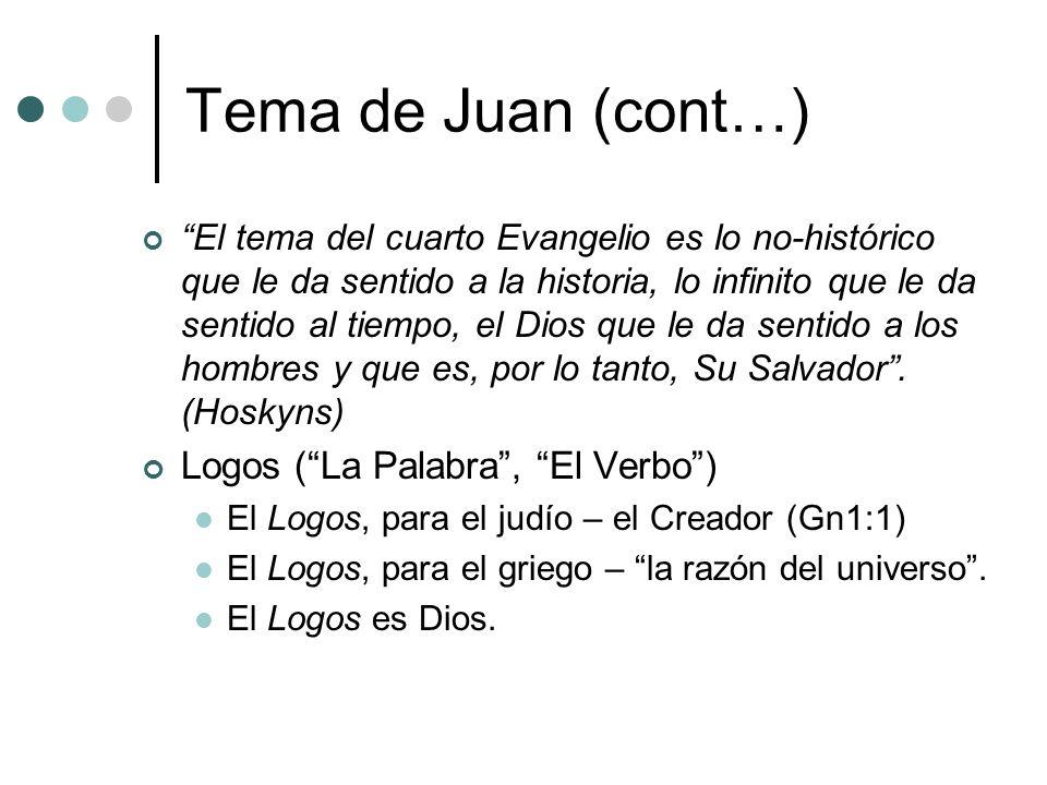 Tema de Juan (cont…) Logos ( La Palabra , El Verbo )