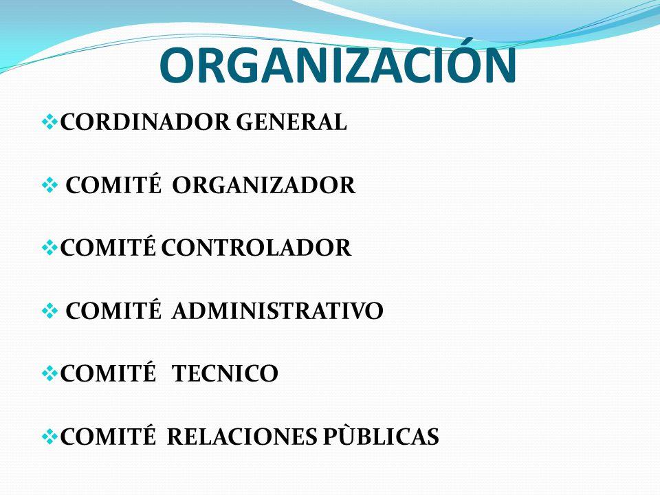 ORGANIZACIÓN CORDINADOR GENERAL COMITÉ ORGANIZADOR COMITÉ CONTROLADOR