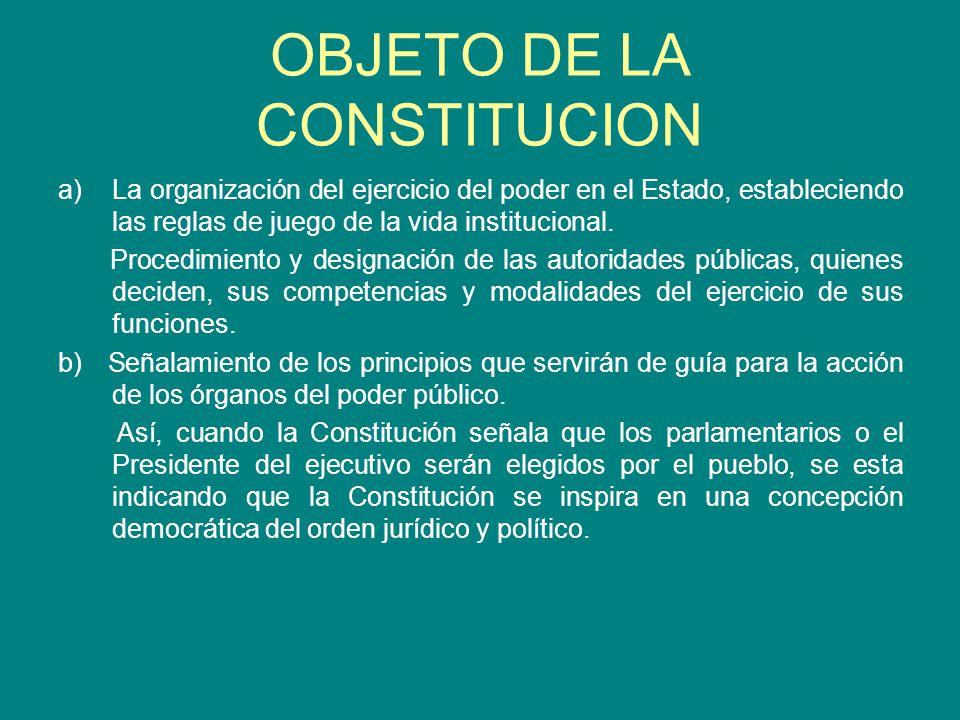 OBJETO DE LA CONSTITUCION