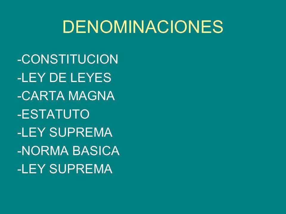 DENOMINACIONES -CONSTITUCION -LEY DE LEYES -CARTA MAGNA -ESTATUTO -LEY SUPREMA -NORMA BASICA