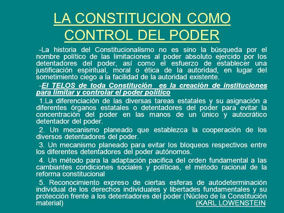 LA CONSTITUCION COMO CONTROL DEL PODER