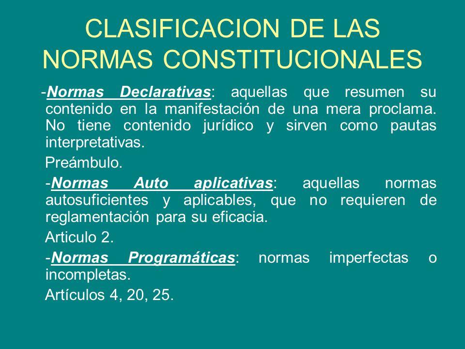 CLASIFICACION DE LAS NORMAS CONSTITUCIONALES