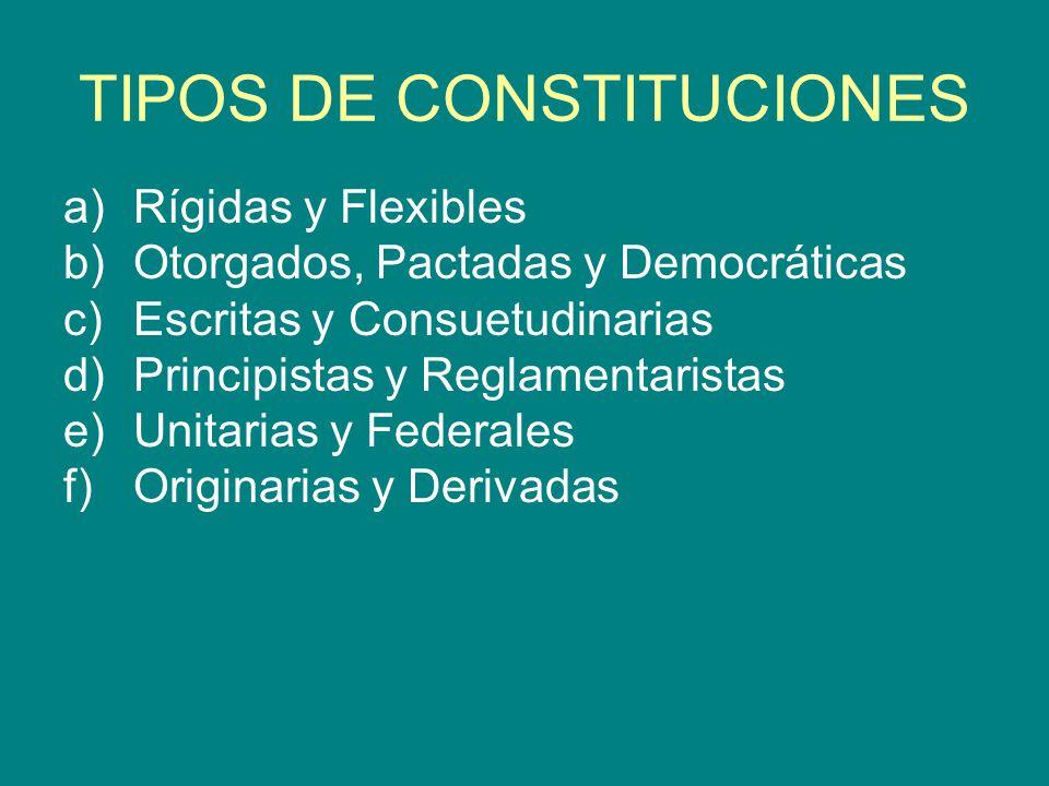 TIPOS DE CONSTITUCIONES