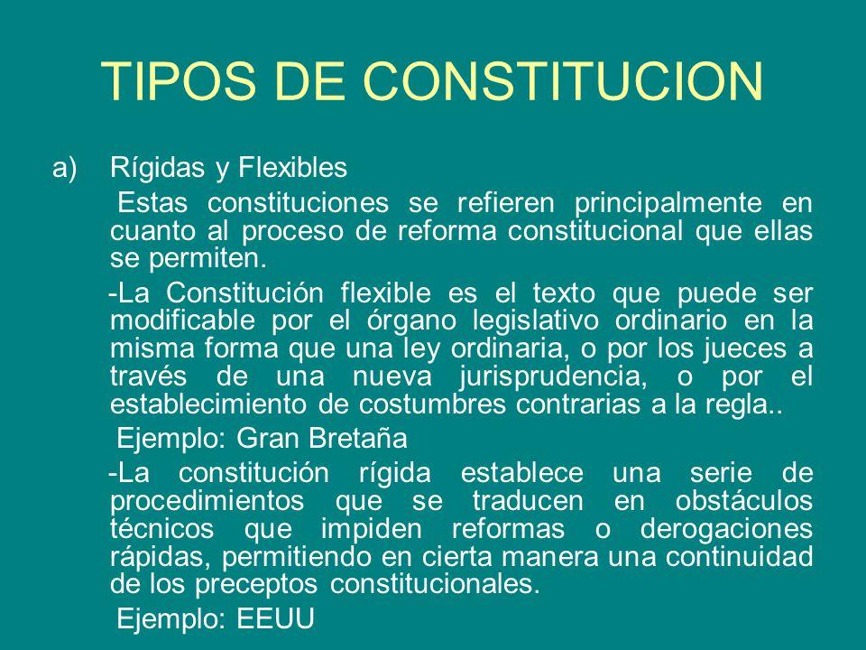 TIPOS DE CONSTITUCION Rígidas y Flexibles