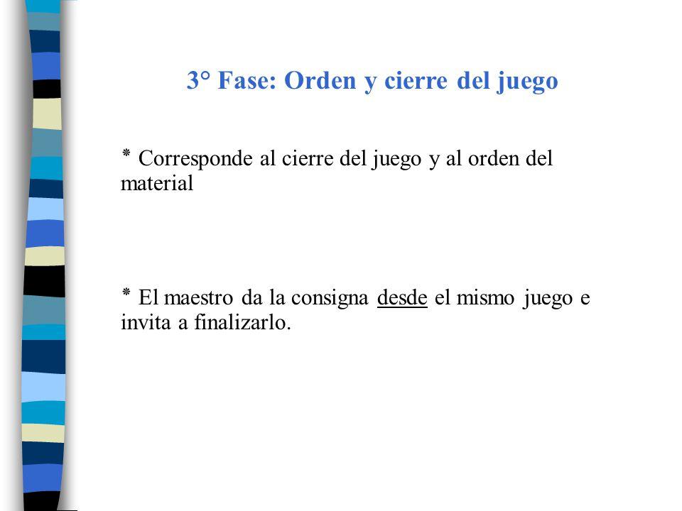 3° Fase: Orden y cierre del juego