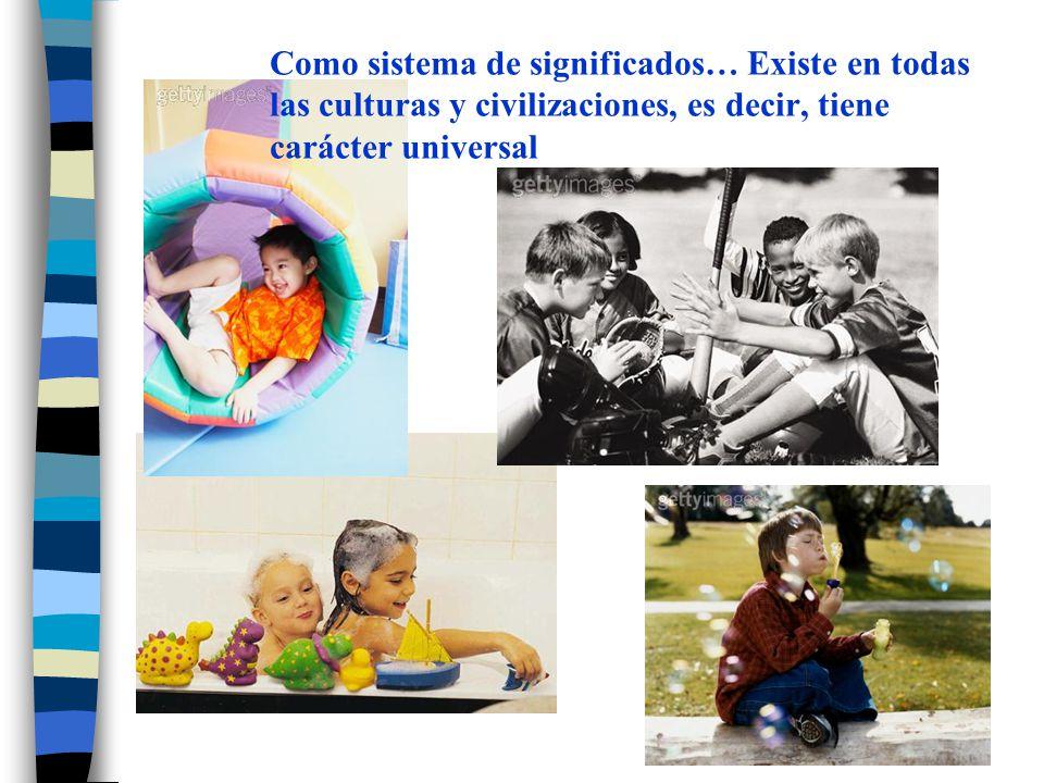 Como sistema de significados… Existe en todas las culturas y civilizaciones, es decir, tiene carácter universal