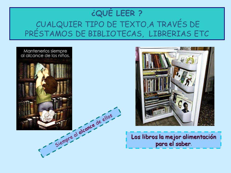 ¿QUÉ LEER CUALQUIER TIPO DE TEXTO,A TRAVÉS DE PRÉSTAMOS DE BIBLIOTECAS, LIBRERIAS ETC. Siempre al alcance de ellos.