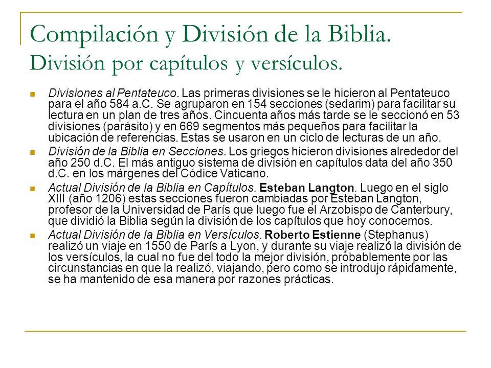Compilación y División de la Biblia