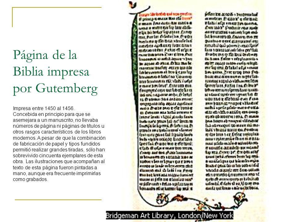 Página de la Biblia impresa por Gutemberg