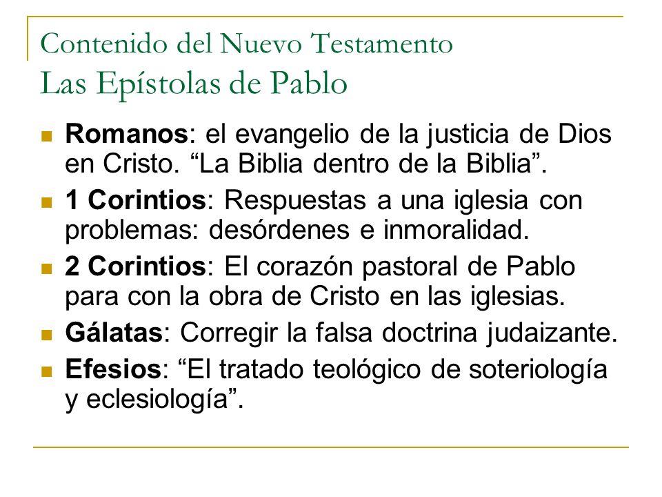 Contenido del Nuevo Testamento Las Epístolas de Pablo