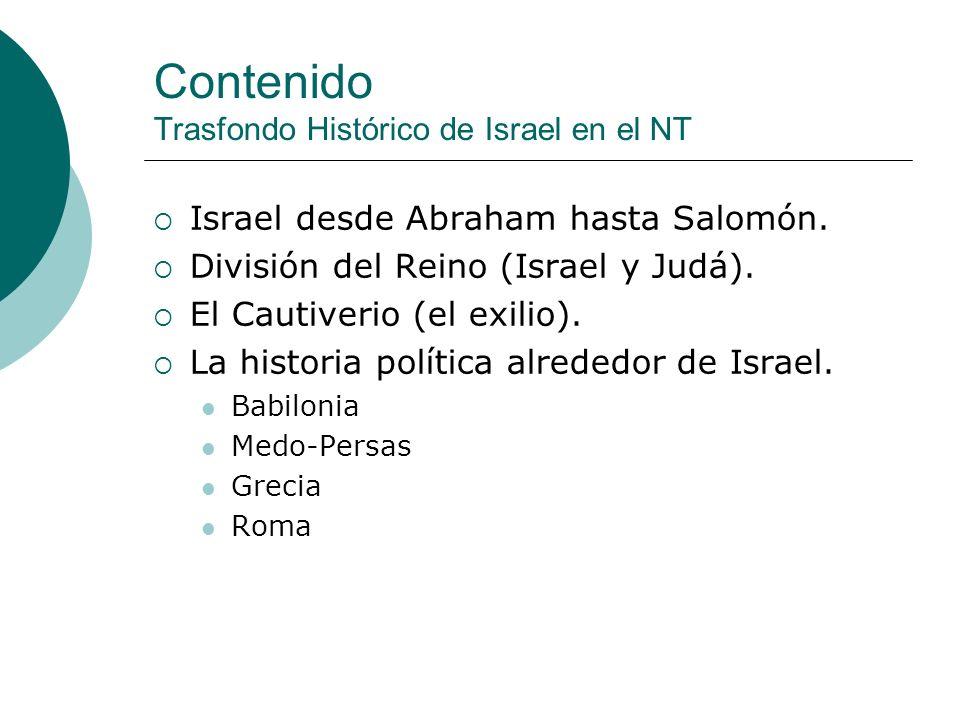 Contenido Trasfondo Histórico de Israel en el NT
