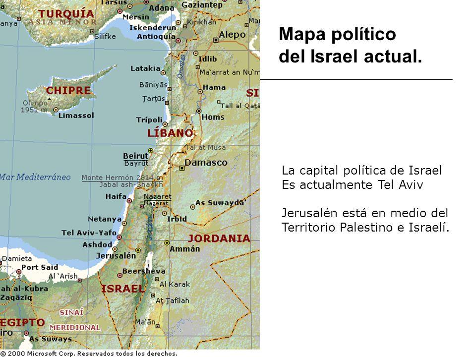 Mapa político del Israel actual. La capital política de Israel