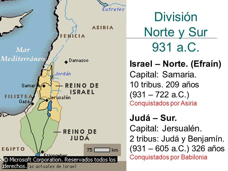 División Norte y Sur 931 a.C. Israel – Norte. (Efraín)