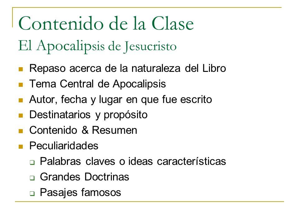 Contenido de la Clase El Apocalipsis de Jesucristo