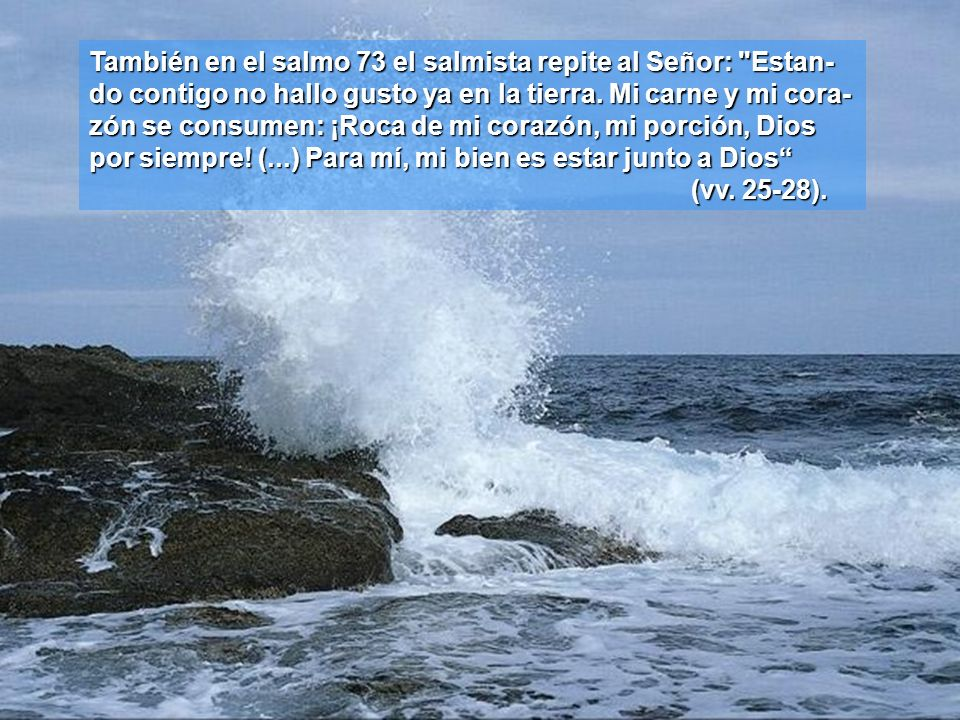 También en el salmo 73 el salmista repite al Señor: Estan-do contigo no hallo gusto ya en la tierra.
