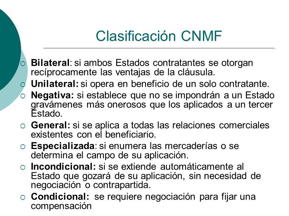 Clasificación CNMF Bilateral: si ambos Estados contratantes se otorgan recíprocamente las ventajas de la cláusula.