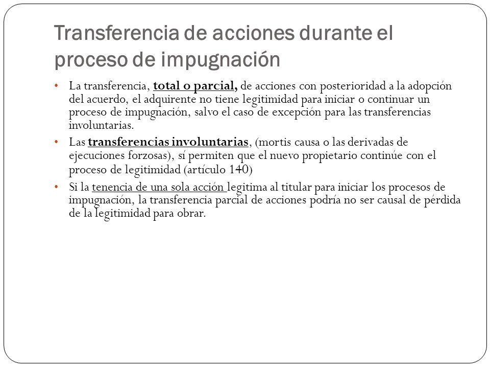 Transferencia de acciones durante el proceso de impugnación