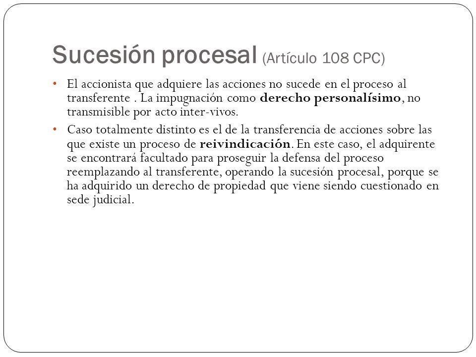 Sucesión procesal (Artículo 108 CPC)