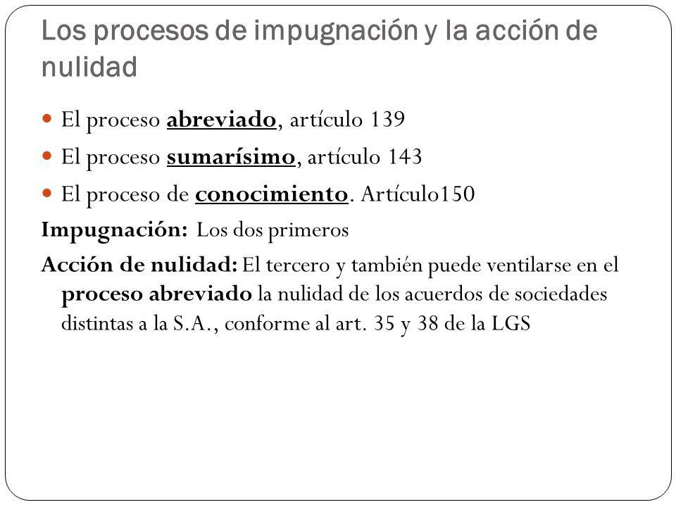 Los procesos de impugnación y la acción de nulidad