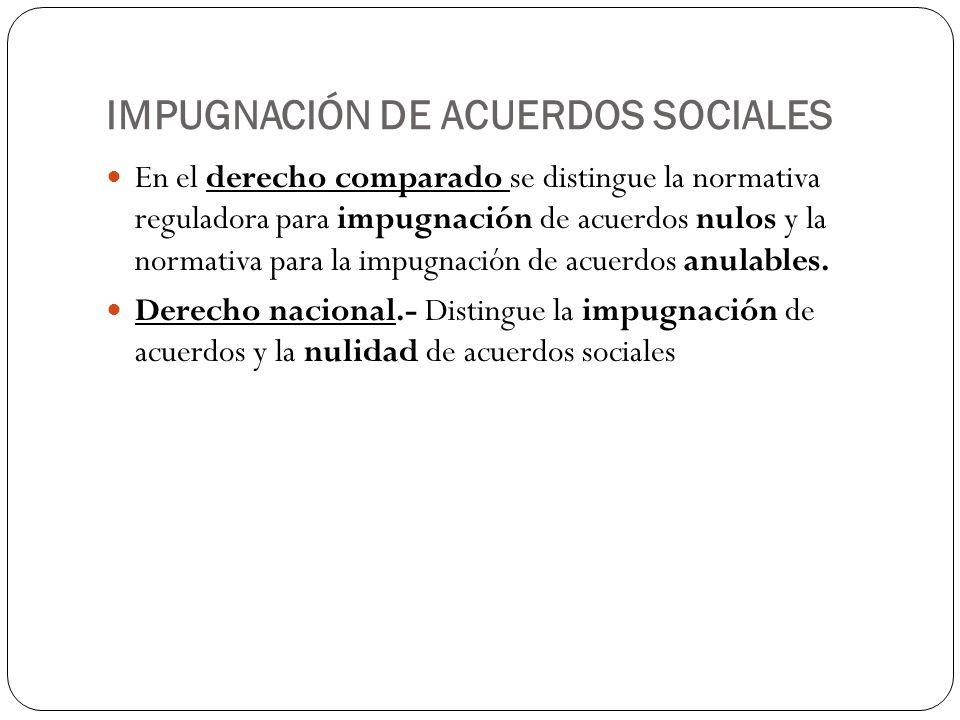 IMPUGNACIÓN DE ACUERDOS SOCIALES