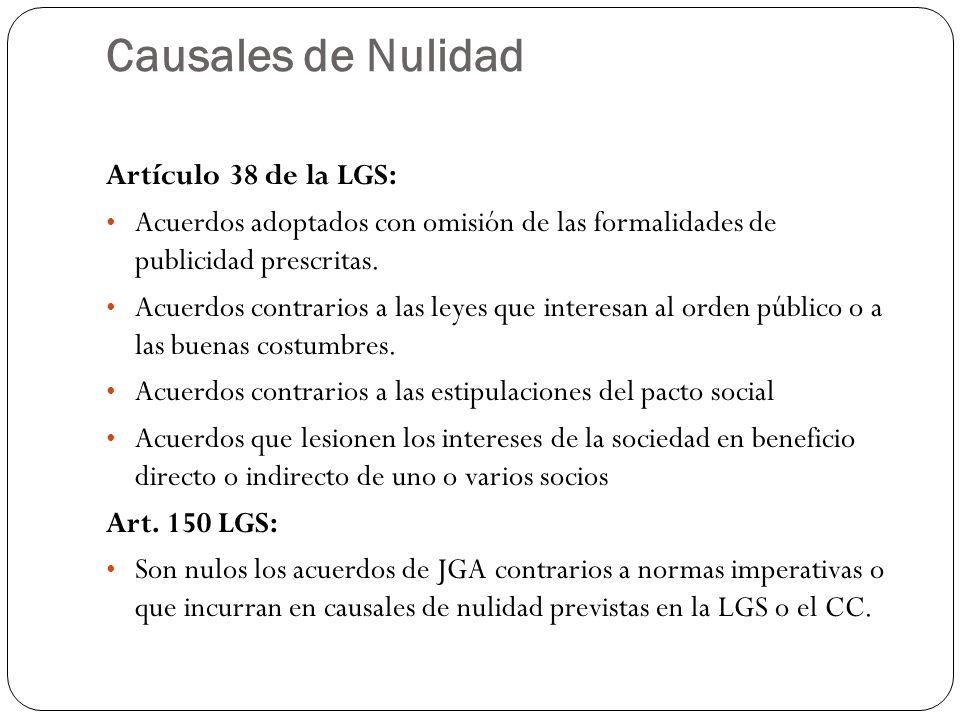 Causales de Nulidad Artículo 38 de la LGS: