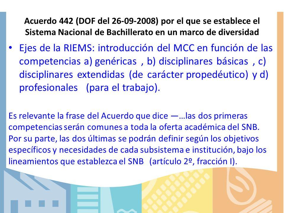Acuerdo 442 (DOF del 26-09-2008) por el que se establece el Sistema Nacional de Bachillerato en un marco de diversidad