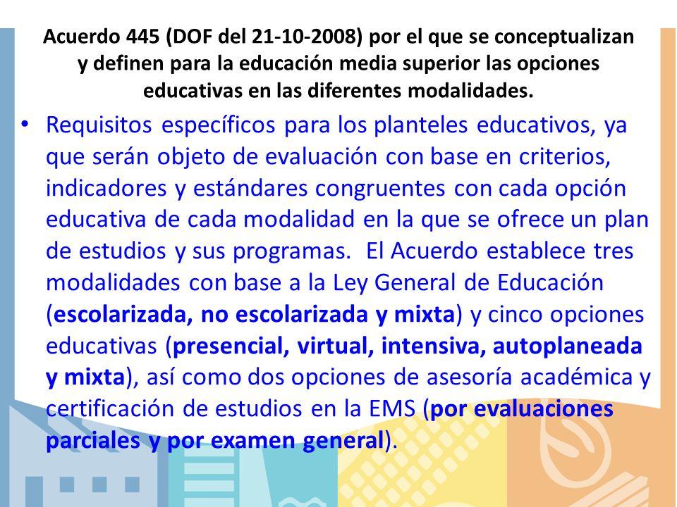 Acuerdo 445 (DOF del 21-10-2008) por el que se conceptualizan y definen para la educación media superior las opciones educativas en las diferentes modalidades.