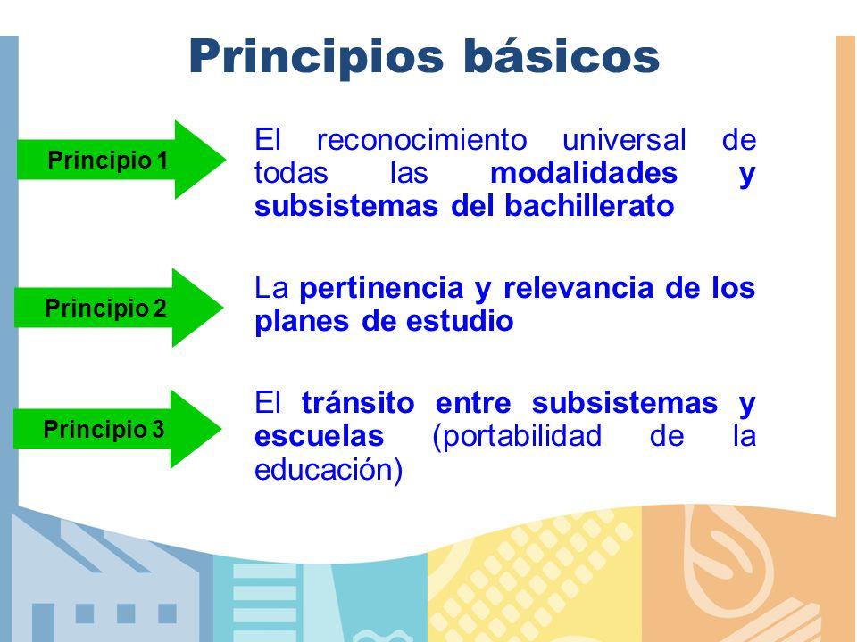 Principios básicos Principio 1. El reconocimiento universal de todas las modalidades y subsistemas del bachillerato.