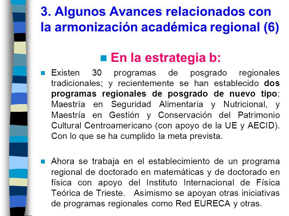 3. Algunos Avances relacionados con la armonización académica regional (6)