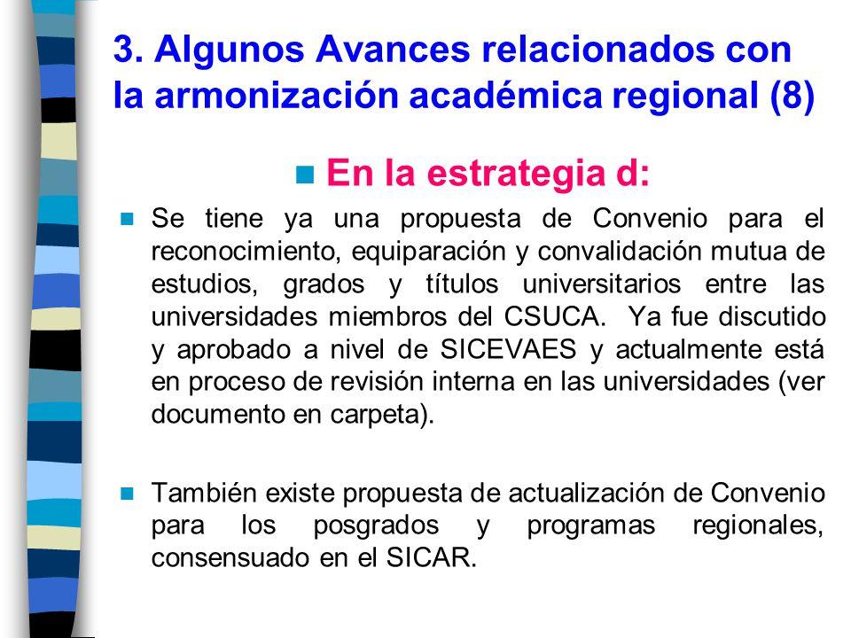 3. Algunos Avances relacionados con la armonización académica regional (8)
