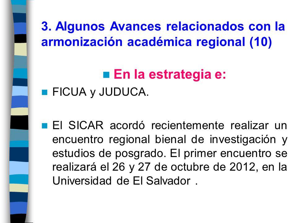 3. Algunos Avances relacionados con la armonización académica regional (10)
