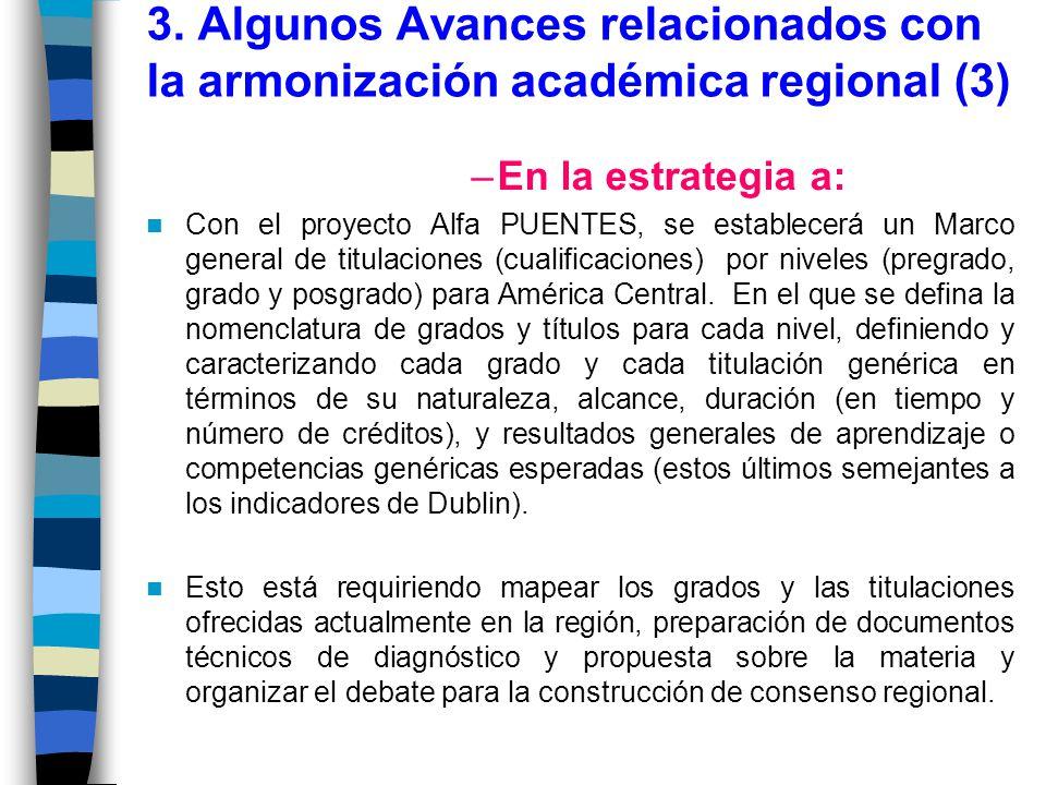 3. Algunos Avances relacionados con la armonización académica regional (3)