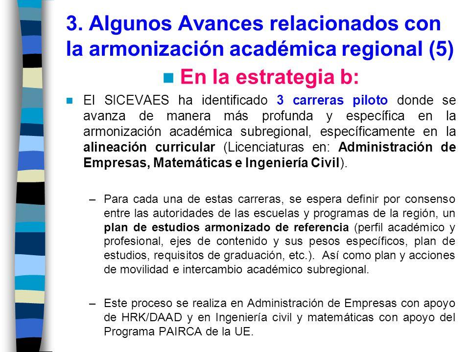 3. Algunos Avances relacionados con la armonización académica regional (5)