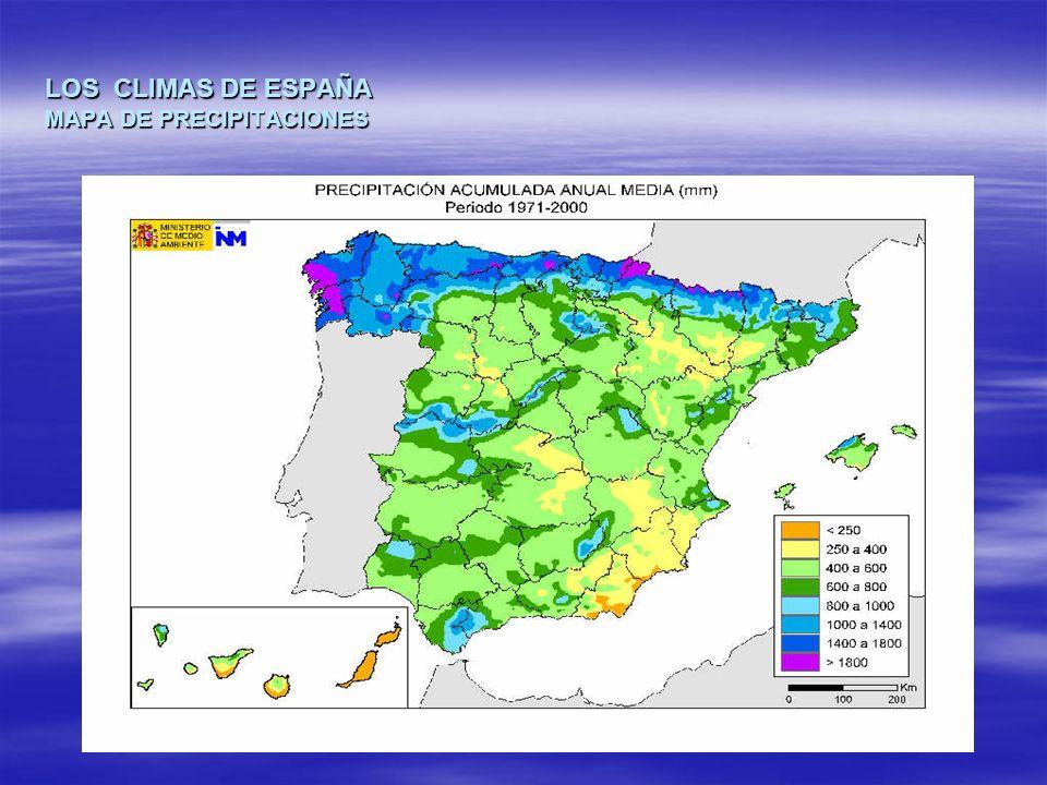 LOS CLIMAS DE ESPAÑA MAPA DE PRECIPITACIONES