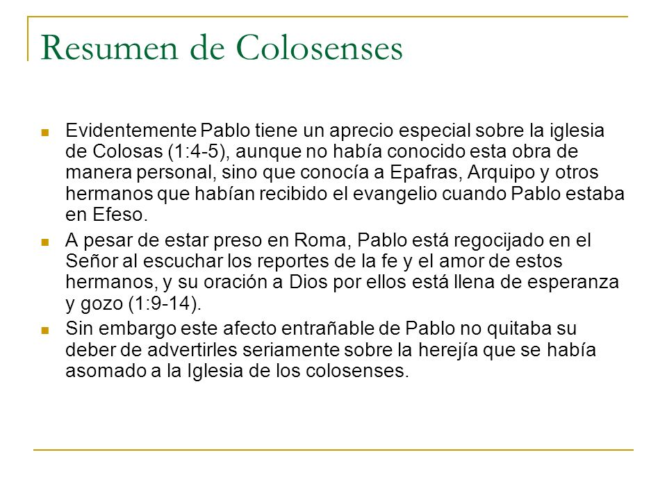 Resumen de Colosenses