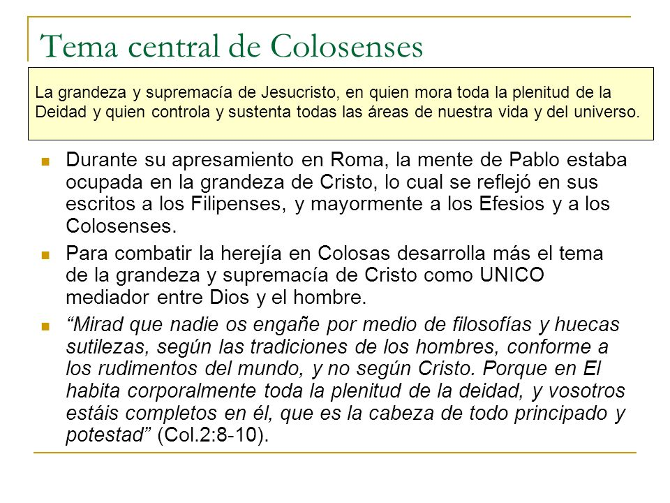Tema central de Colosenses