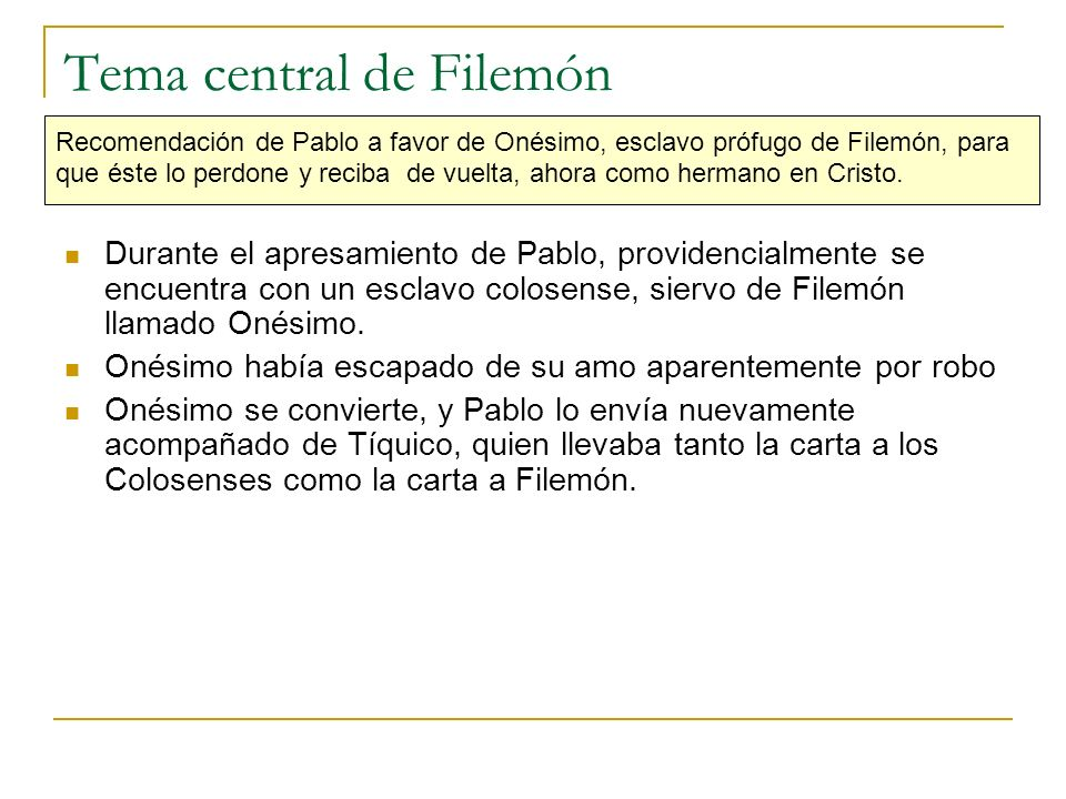 Tema central de Filemón